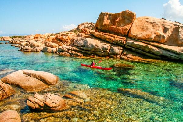Kajak bei Isolella. Porticcio. Wasserwandern