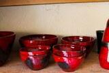 Bols céramique rouge artisan art